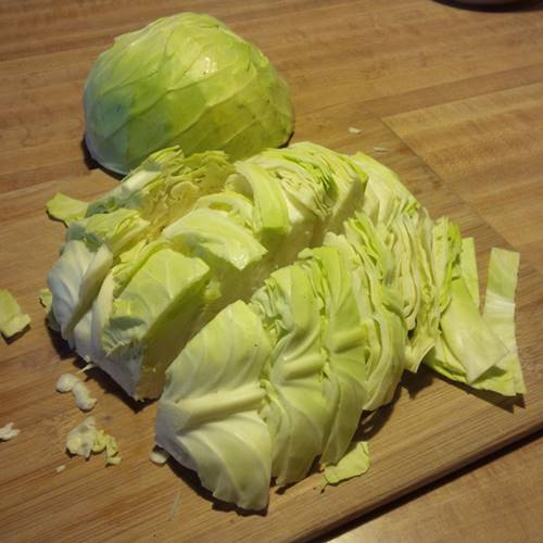 Cut Up Green Cabbage